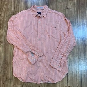 Tommy Bahama Mens Button Front Shirt Pink Striped